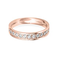 4.0mm Grain Set Flat rose gold wedding ring