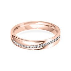 4.0mm Channel Wave rose gold wedding ring