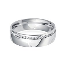 6.0mm Offset  diamond cut wedding ring