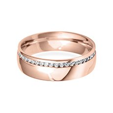 6.0mm Offset  rose gold wedding ring