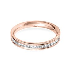 3.0mm Vintage Flat rose gold wedding ring