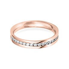 3.5mm Channel Set Flat rose gold wedding ring