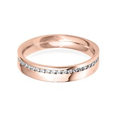 4.0mm Offset Flat rose gold wedding ring