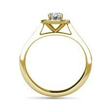 Summer yellow gold halo engagement ring