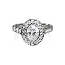 Viola platinum halo engagement ring