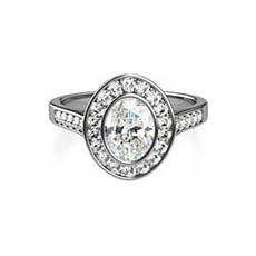 Viola platinum halo engagement ring