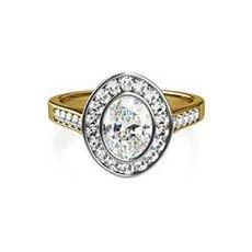 Viola yellow gold halo engagement ring